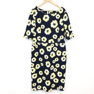 Liz Claiborne | Navy Dress Yellow Floral